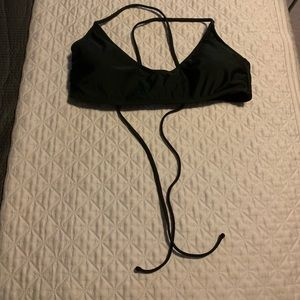 Black bikini top with straps corset style back